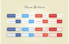 Popular Social Buttons with Counter