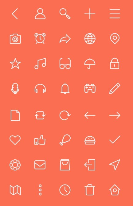 40 Outlined UI Icons PSD