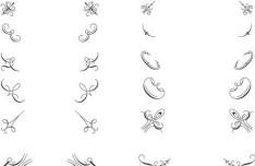 Pen Strokes Ornamental Corner Set 01