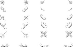 Pen Strokes Ornamental Corner Set 01