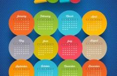 Colorful Circular Calendar 2015 Vector