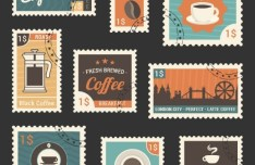 Retro Style Fresh Coffee Stamp Set Vector