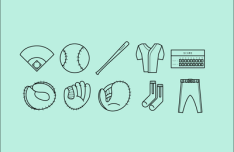 Base Ball Icon Set Vector