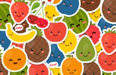 Lovely Fruits Stickers Vector