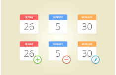 Flat Candy Calendar Icon Set PSD
