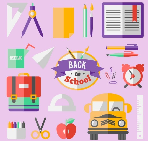 Flat Cartoon Back To School Design Elements Vector
