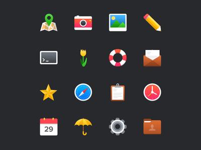 Bright Colorful Icon Set PSD