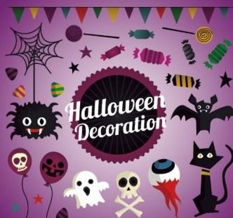 Cartoon Halloween Decoration Vector 02
