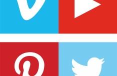 8 Block Social Icons Vector