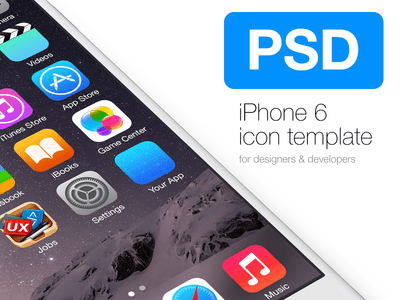 iOS 8 Icon Template For iPhone 6 PSD
