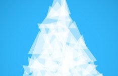 White Abstract Polygon Christmas Tree Vector