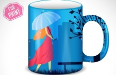 Umbrella Girl Mug Cup Template Vector