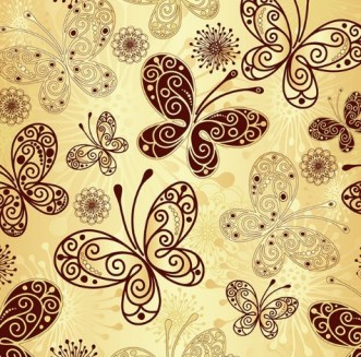 Golden Line Art Butterfly Background Vector