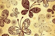 Golden Line Art Butterfly Background Vector