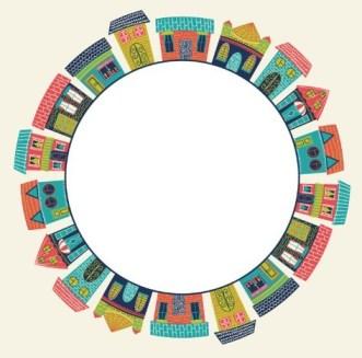Cartoon Buildings Circle Vector