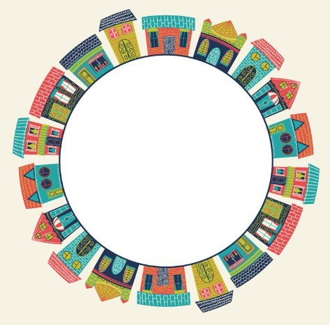 Cartoon Buildings Circle Vector