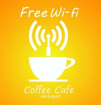 Coffee Cafe Free Hotspot WIFI Sign Vector