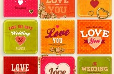 Colorful Wedding Card Set Vector