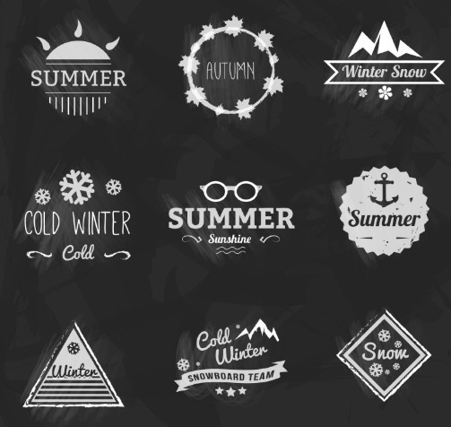 9 Chalk Insignias & Badges Vector