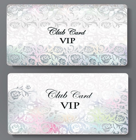 Metal Floral Club VIP Card Template Vector