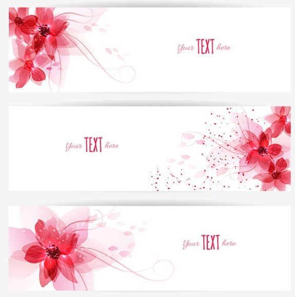Red Peach Blossom Banner Set Vector