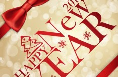 Red Ribbon 2015 Happy New Year Vector