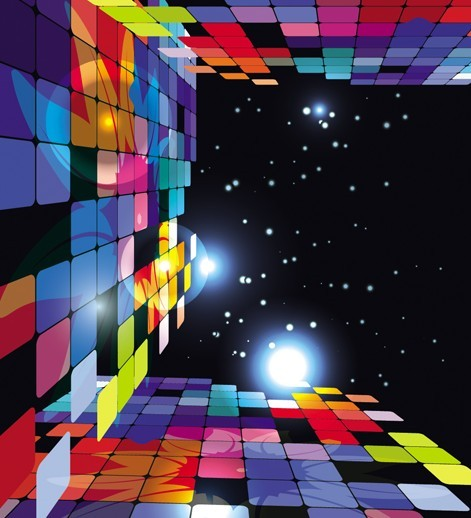 3D Colorful Blocks Background Vector 02