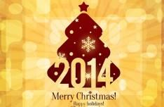 Elegant Orange Christmas & New Year Background Vector 02