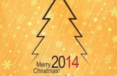 Elegant Orange Christmas & New Year Background Vector 04