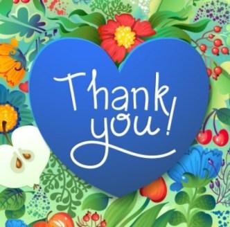 Blue Thank You Heart Vector