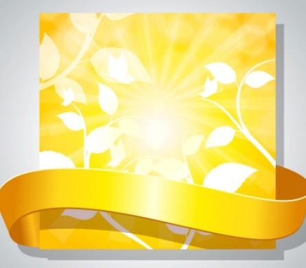 Yellow Ribbon Card Template Vector