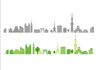 Flat City Silhouettes Vector