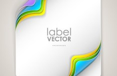 Creative Curled Paper Label Vector 01