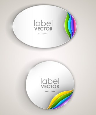 Creative Curled Paper Label Vector 02