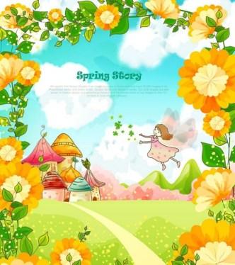 Spring Story Cartoon Illustration Vector