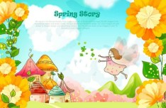 Spring Story Cartoon Illustration Vector