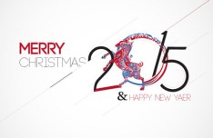 Merry Christmas and Happy New Year 2015 Greeting Card Vector