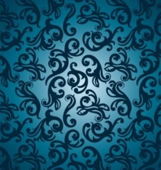 Blue Vintage Floral Pattern Vector