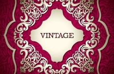 Vintage Golden Floral Badge Vector