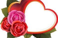 Love Heart with Roses Vector