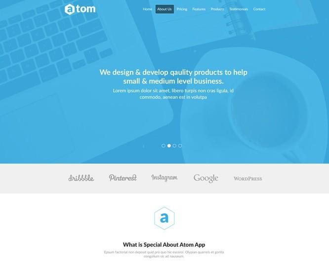 Free Atom Simple Clean Landing Page Template PSD TitanUI - Simple landing page template
