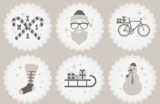 6 Hipster Christmas Vector Badge & Icons