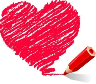 Crayon Drawing Love Heart Vector