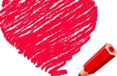Crayon Drawing Love Heart Vector