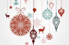 Hanging Christmas Holiday Ornaments Vector