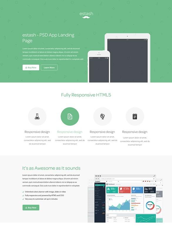 Free Estash App Landing Page Template PSD TitanUI - App landing page template