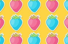 Seamless Pink & Blue Strawberry Pattern Vector