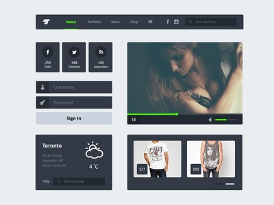 Flat Dark UI Kit PSD
