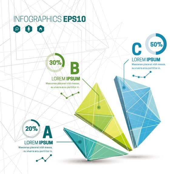 Creative Polygon Diagram For Infographic Vector