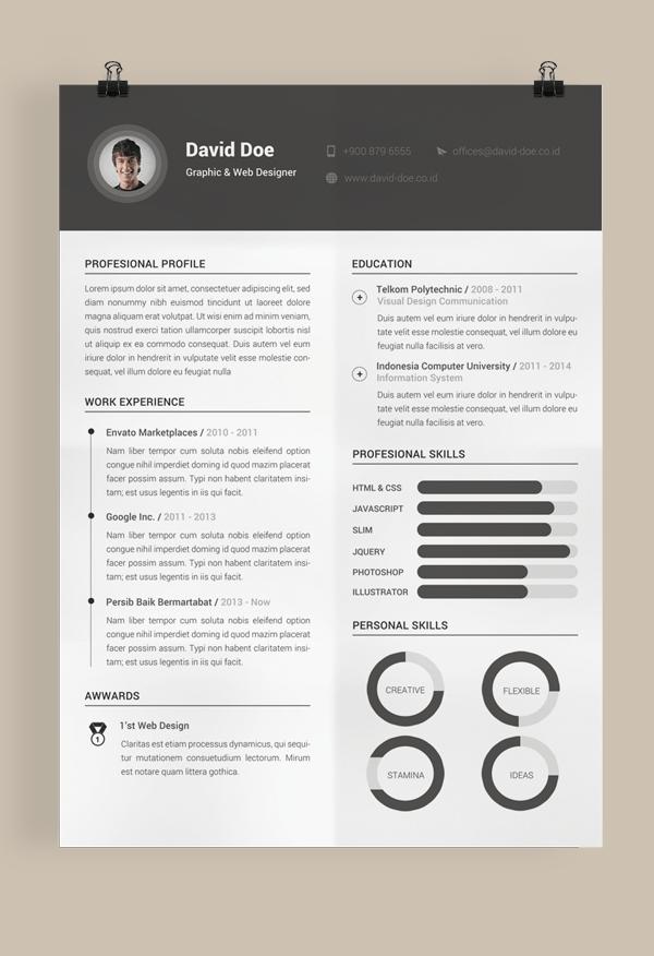Etonnant Simple Dark Resume Template PSD